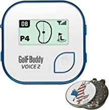 Bundle | Golf Buddy Voice 2 GolfBuddy Voice2 Easy-to-Use Talking GPS (Multi Colors) + 1 Custom Ball Marker Hat Clip Set (American Eagle)