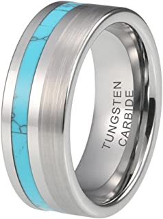 iTungsten 8mm Tungsten Rings for Men Women Wedding Bands Natural Koa Wood/Turquoise Inlay Polished Matte Comfort Fit