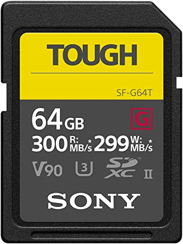 Sony Tough High Performance 64GB SDXC UHS-II Class 10 U3 Flash Memory Card with Blazing Fast Read Speed up to 300MB/s...