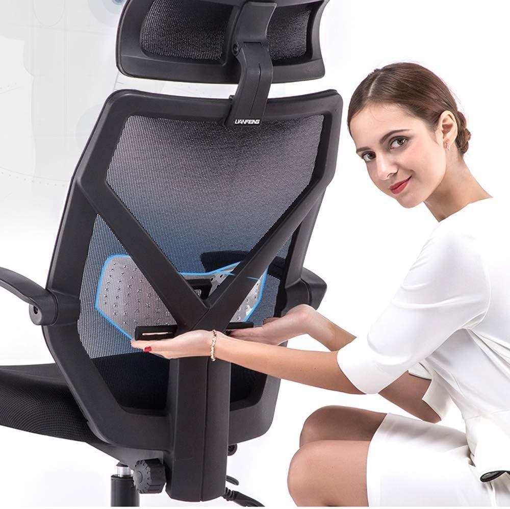 QWEA Chaise de Bureau, Chaise de Bureau Ergonomique en Maille à Dossier Haut, avec accoudoir rembourré et Repose-tête réglable, Chaise de Jeu pivotante, Noir White