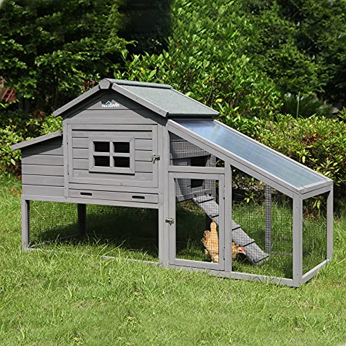 Rabbit Hutch Large Bunny Cage, Outdoor Bunny Hutch Wooden Chicken Coop, Rabbit House for Small Animals (Grey)