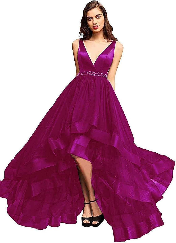 Liangjinsmkj V Neck Prom Gowns for Women High Low Aline Evening Dresses Beaded Tulle Cocktail Dress