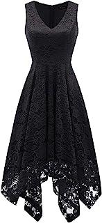Meetjen Damen Festliche V-Ausschnitt Cocktailkleid Elegante Abendkleid A-Linie Kleid mit Spitze Hochzeit Gast Brautjungfernkleid