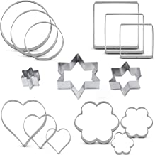 Aoktech Basic Cookie Cutter Set Stainless Steel Cake Cutter Bread Fondant Biscuit Cutters Star Heart Round Flower Square S...