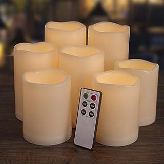 """شمع های بدون شعله Aignis ، شمع های هدایت شده 7 (H 4 """"4"""" 4 """"5"""" 5 """"6"""" 6 """"x D 3"""") شمع های رزین عاجی شمع های باتری با تایمر از راه دور شمع های بیرونی ضد آب"""