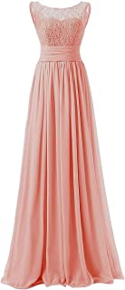 Uther Women's Long Prom Dress Scoop Bridesmaid Dress Lace Chiffon Evening Gowns