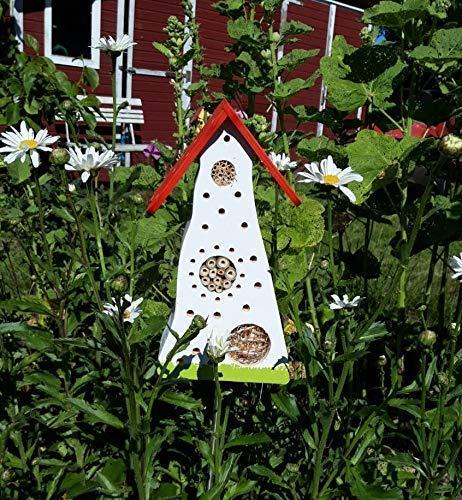 Insektenhotel farbenfroh weiß/rot/grün stehend