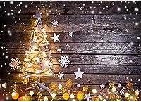 7×5フィートの背景写真ビニールクリスマス装飾ツリースター雪ライトエレガントなパターン写真背景壁装材写真撮影背景壁ドロップパーティーや野外活動