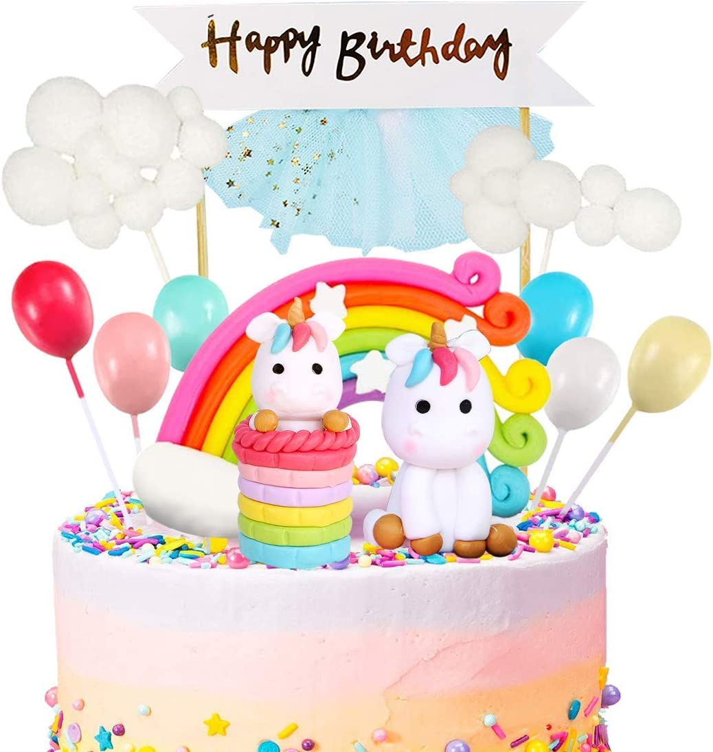 MOVINPE Max 44% OFF San Jose Mall Unicorn Cake Topper Kit Cloud Birt Balloon Happy Rainbow