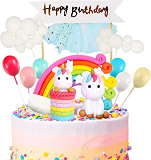 iZoeL Unicorn Cake Topper Kit Cloud Rainbow Balloon Happy Birthday Banner Cake Decoration Pack of 12 For Boys Girls Kids Birthday
