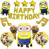 Minions Balloons Party Decoraciones simyron Foil Globos de feliz cumpleaños, Banner de feliz cumpleaños Globos, Globos de feliz cumpleaños, Decoración de cumpleaños para niños