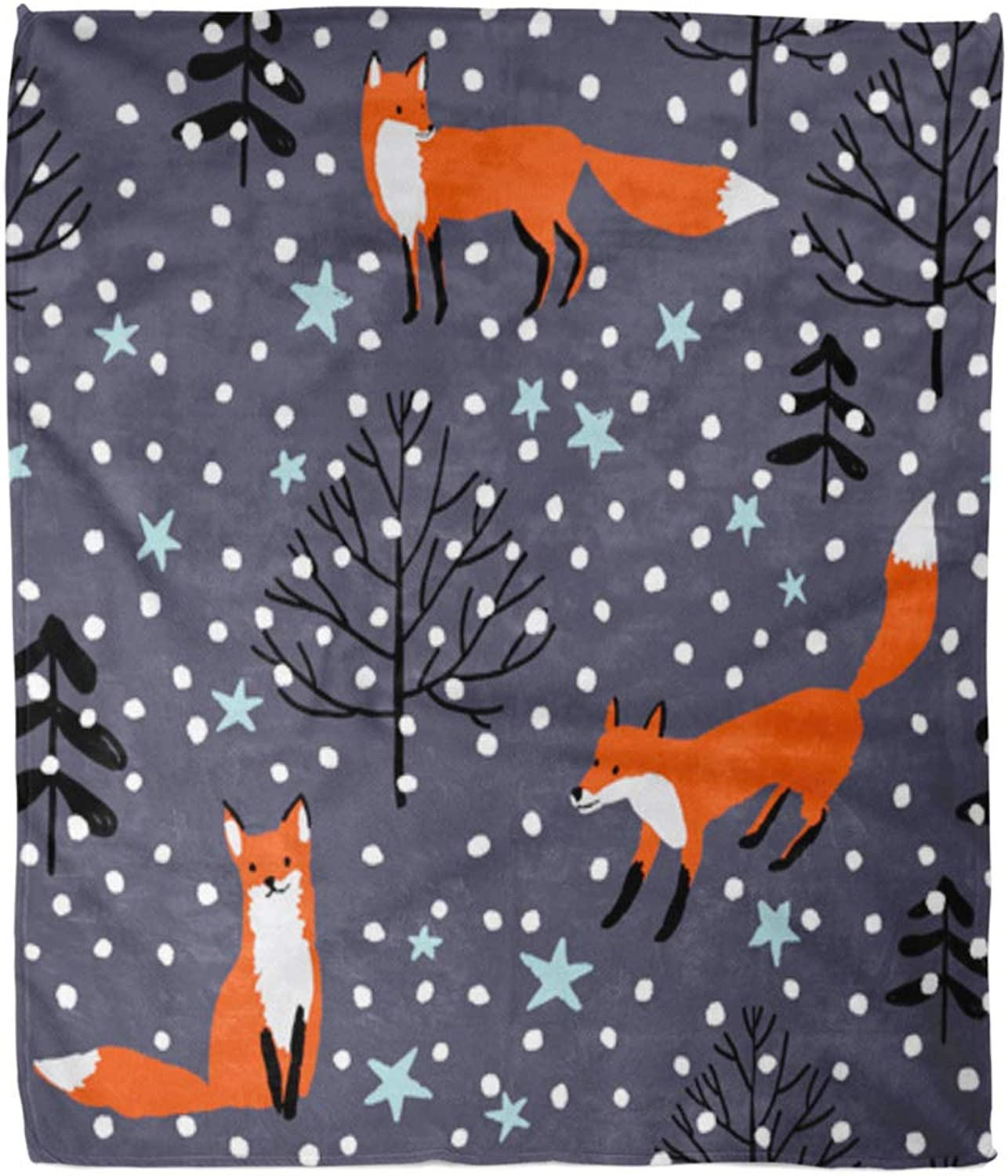 Emvency Throw Blanket Warm Cozy Print Flannel Red Foxes in The Woodland Stars Snow Wild Forest Animal Winter Xmas Comfortable Soft for Bed Sofa and Couch 50x60 Inches