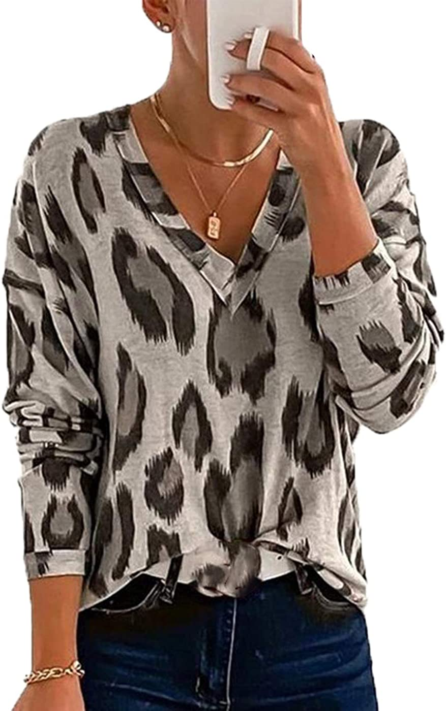 Cocoinsity Womens Casual Shirts Leopard Shirt Long Sleeve Blouses V-Neck Tunic Top