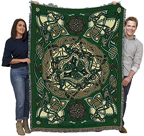 Celtic Hounds - Jen Delyth - Cotton Woven Blanket Throw - Made in The USA (72x54)