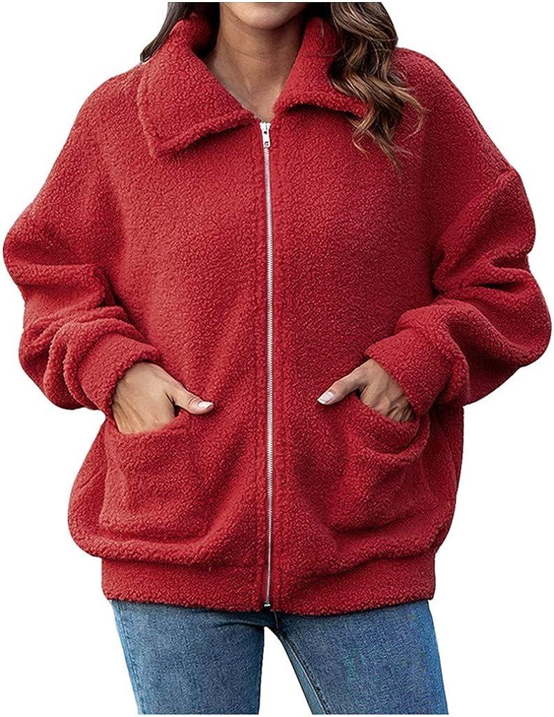 Women Winter Coat Faux Lamb Wool Zipper Cardigan Outdoor Jacket