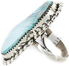 $480 Retail Tag Handmade Silver Navajo Certified Authentic Natural Turquoise Native American Ring 17064
