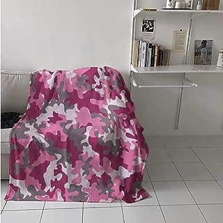 maisi Camo Digital Printing Blanket Cute Sweet Pattern in Pink Tones Feminine Design Girlish Vibrant Artistic Summer Quilt Comforter 62x60 Inch Magenta Hot Pink Grey