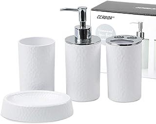 CERBIOR Bathroom Accessories Set 4 Piece Bath Ensemble Includes Soap Dispenser, Toothbrush Holder, Tumbler, Soap Dish for ...