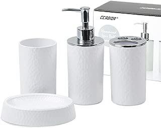 CERBIOR Bathroom Accessories Set 4 Piece Bath Ensemble Includes Soap Dispenser, Toothbrush Holder, Tumbler, Soap Dish for Decorative Countertop and Housewarming Gift, White