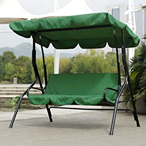 Patio Swing Cushion Cover,Courtyard Garden Swing Hammock 3?Seat Cushion Cover with Waterproof Fabric Protection Cushion 59.1 x 19.7 x 3.9in for Outdoor (Green)