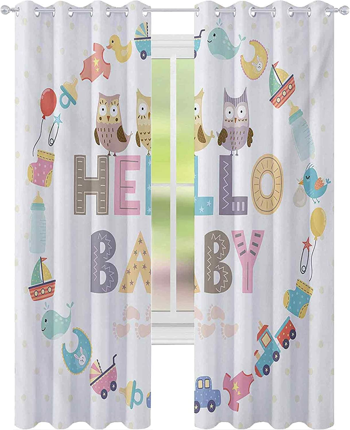 Light Blocking Curtains Hello Popular shop is the lowest price challenge Max 56% OFF Baby with Quote and Kids Elements