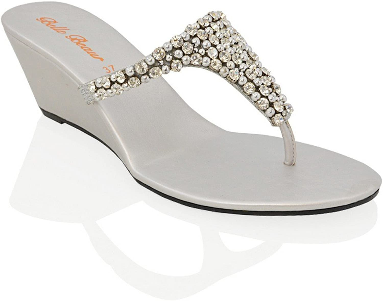 ESSEX GLAM Womens Toe Post Sparkly Diamante Synthetic Dressy Wedge Heel Sandals