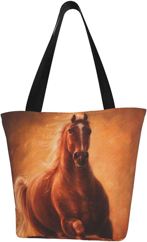Cute Animal Brown Horse Running Art Themed Printed Women Canvas Handbag Zipper Shoulder Bag Work Booksbag Tote Purse Leisure Hobo Bag For Shopping