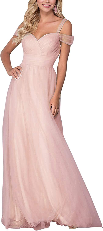Liangjinsmkj Bridesmaid Dresses Long Off Shoulder Ruffled Tulle Spaghetti Strap Prom Gowns for Women