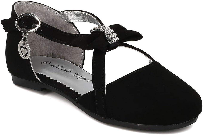 Alrisco Girl's Rhinestone Bow Tie Charmed Key Hole Flat 17276 - Black Nubuck (Size: 10 Toddler)