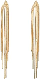 Yellow Chimes Golden Base Metal Gold Plated Elegant Long Chain Party Ware Hangings Tassel Drop Statement Earrings for Wome...