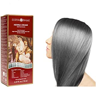 SURYA BRASIL - Henna Hair Cream - Silver Fox - Hair Coloring and Conditioning Treatment - Application Kit included - Safe ...