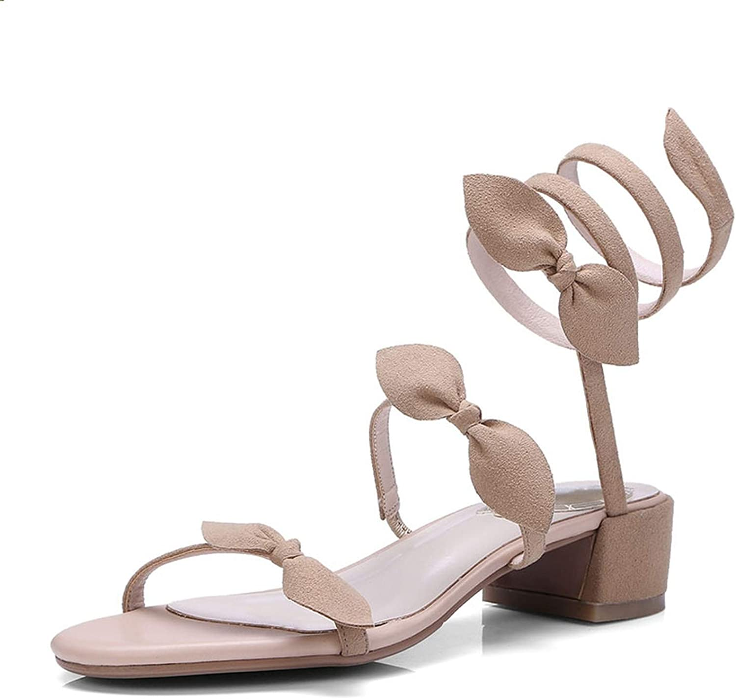 New Summer Kid Suede Sandals Sweet Butterfly Knot shoes Women Gladiator Footwear Ladies Snake Style Med Heels shoes