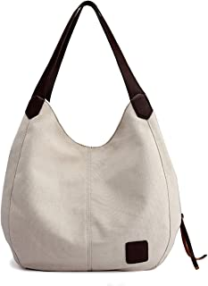 New Canvas Bag,Women's Bag,Fashion Baccarat Simple One-shoulderTote Multi-layered Leisure Large Bag (Beige)