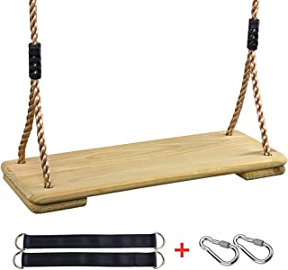 KINSPORY Outdoor Hanging Wooden Tree Swing Seat Backyard Sets for Kids with Adjustable 71'' PE Rope