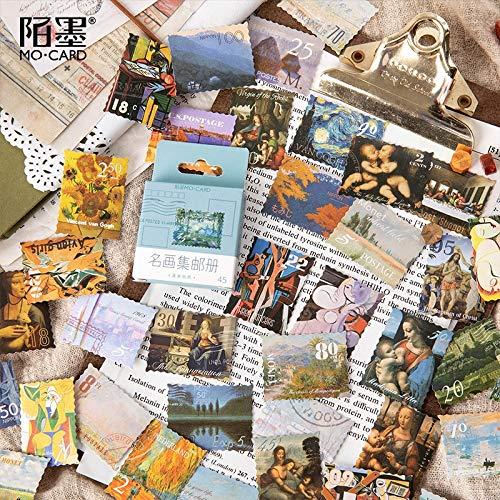 Mohamm 45 Stks 44 Doos Stickers Beroemde Schilderijen Filatelische Albums Creatieve Retro Hand Accounts Decoratie Algemene Sealing Sticker