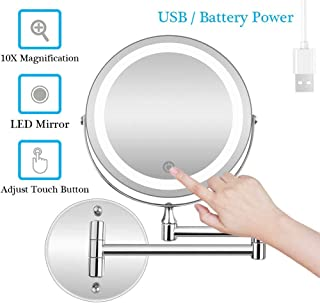 Makeup Mirror, Wall Mounted Shaving Mirror 10X Magnification Double Sided Folding LED Bathroom Mirrors Retractable 360°Swivel Illuminated Vanity Mirror, Powered by 3 x AAA Batteries/USB, 7 Inches