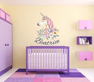 Beatrice Girl Name Unicorn Floral Nursery Kids Room Magic Creature Animal Wall Vinyl Sticker Car Mural Decal Art Decor LP6440