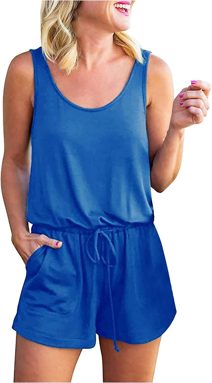 Casual Summer Dresses for Women Womens Summer Scoop Neck Sleeveless Tank Top Short Jumpsuit Rompers
