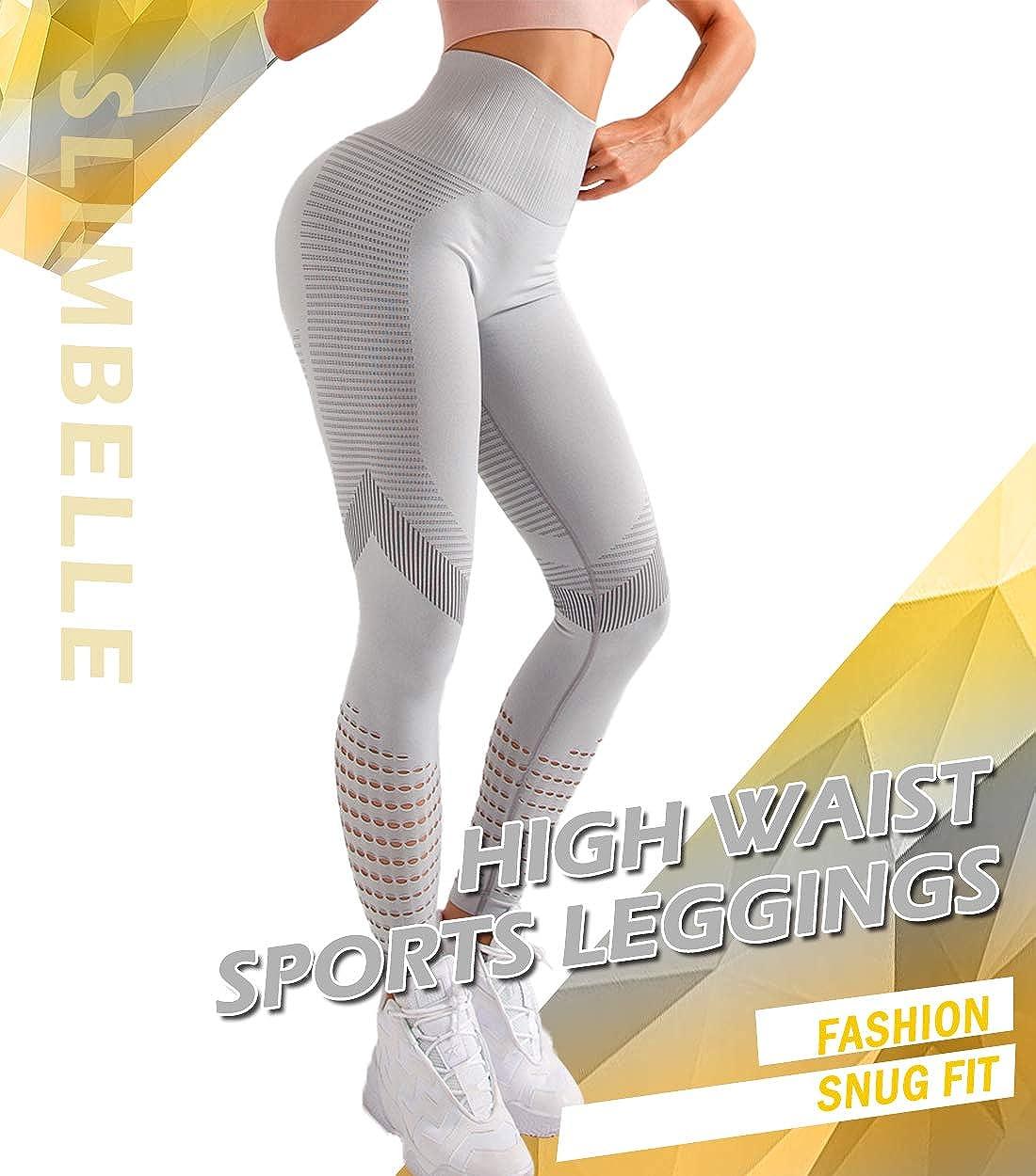 SLIMBELLE Mallas Push up Mujer Leggings Deportivos Pantalones Yoga Leggins de Cintura Alta Bolsillos Cortos Pantal/ón Deporte Verano para Fitness Correr Entrenamiento