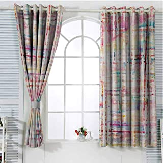 Grunge Blackout Curtains for Bedroom Grommet Window Curtain Abstract Grunge Paint with Manifold Complicated Mixed Figures and Lines Artsy Print Light Curtain Multicolor 84 x 72 inch