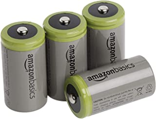 Amazon Basics 4-Pack C Cell Rechargeable Batteries, 1.2V (5000mAh Ni-MH), Pre-charged