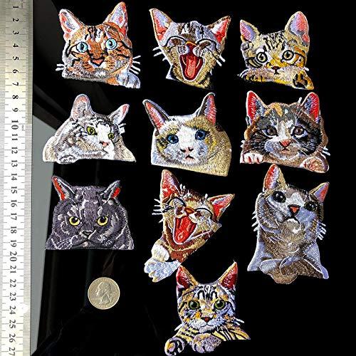 Patch Sticker,Parche termoadhesivo,Aplique de bordado adecuado para sombreros, chaquetas, abrigos, camisetas, lindo gato 10 piezas