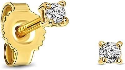 Miore pendientes 4 garras con presion oro blanco/oro amarillo 9 kt 375 con diamantes talla brillante 0,08 ct