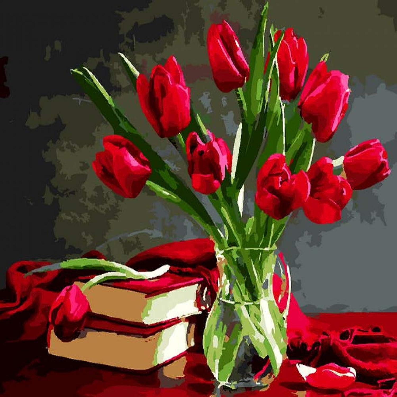envío gratuito a nivel mundial QIAISHI Pintura de Lienzo sin Marco por números Flores Flores Flores Pintura Bricolaje Pintura al óleo sobre Lienzo para la decoración del hogar tulipán Rojo  buena calidad