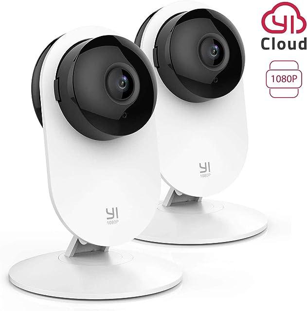 YI Home Cámara IP 1080P WiFi Cámara de Vigilancia Interior con Detección de Movimiento Notificaciones Push Audio bidireccional Visión Nocturna Smart Cámara para Teléfono/PC Kit de 2