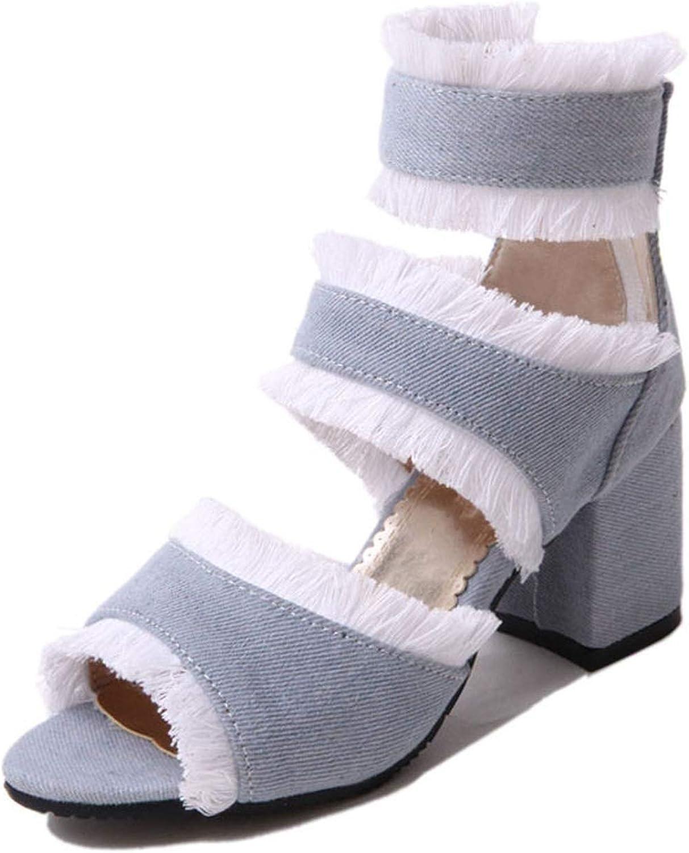 Women Sandals Summer Ankle Cowboy Boots Gladiator Sandals Women Chunky High Heels Denim Canvas Sandalia Open Toe bluee