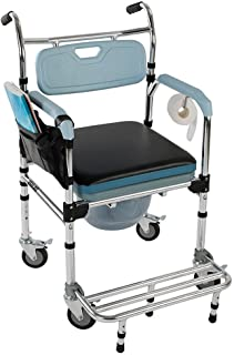 Bedside Toilet & Shower Chair Commode Wheelchair Medical Rolling Chair