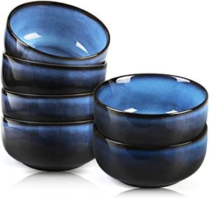 DANMERS 20 Ounce Porcelain Cereal Bowls Set,Soup Salad Dessert Pasta Fruit Bowls,Set of 6,Blue