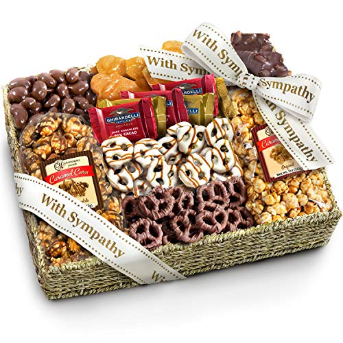 With Sympathy Chocolate Caramel and Crunch Grand Gift Basket with Snacks, Pretzels, Ghirardelli and Chocolate-covered Nuts