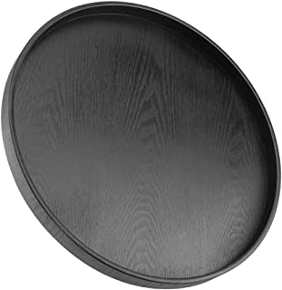 TOPINCN Round Shape Solid Wood Food Meals Serving Tray Tea Coffee Snack Plate Home Kitchen Restaurant Trays 37.5cm(Black)